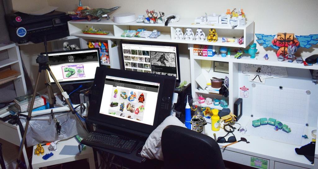 Alex Gwynne of Fold Up Toys office workspace