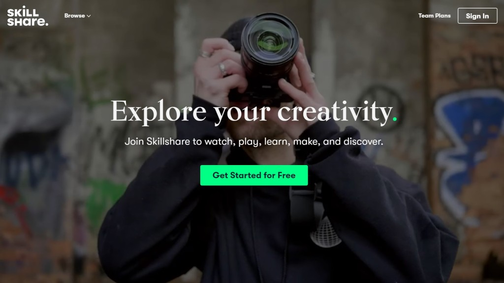 What is Skillshare? Website homepage