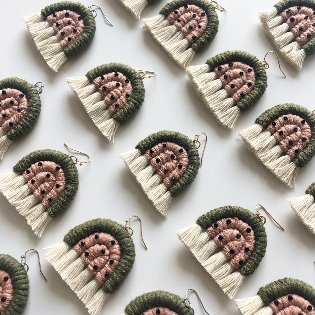 Amanda Pitts macrame watermelon earrings