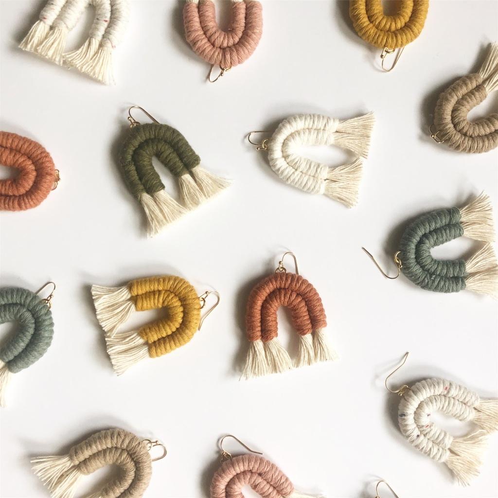 Amanda Pitts rainbow fiber earrings