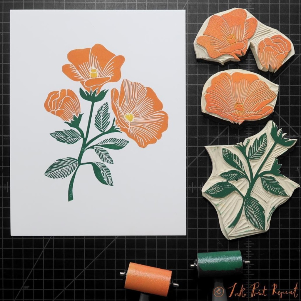 Andrea Lauren nature linocut artist