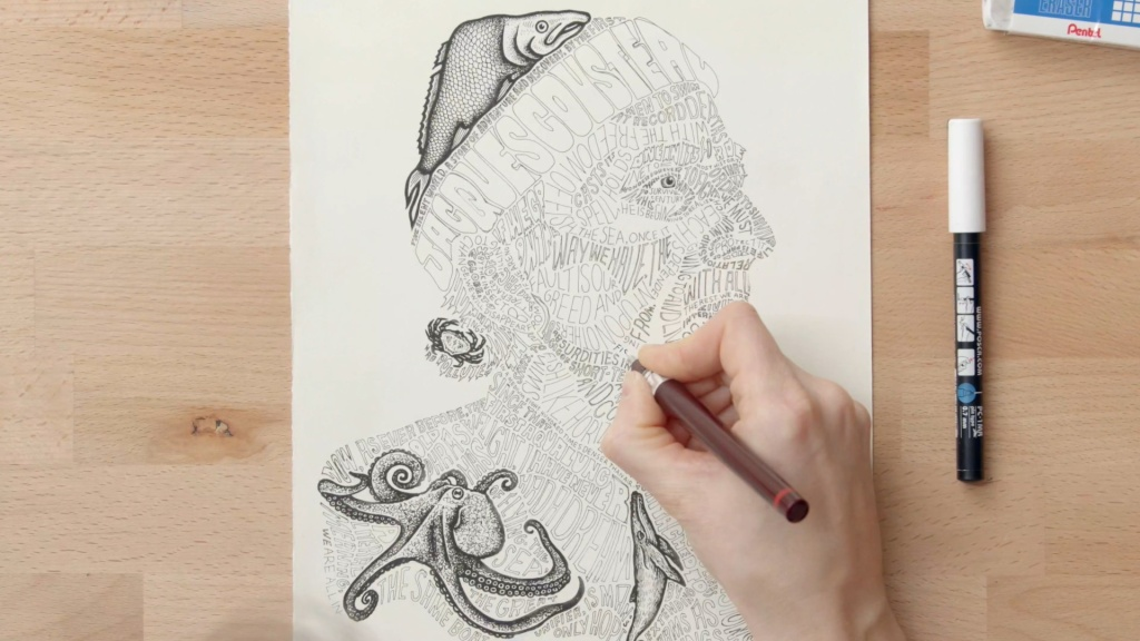 Domestika typographic portrait illustrations