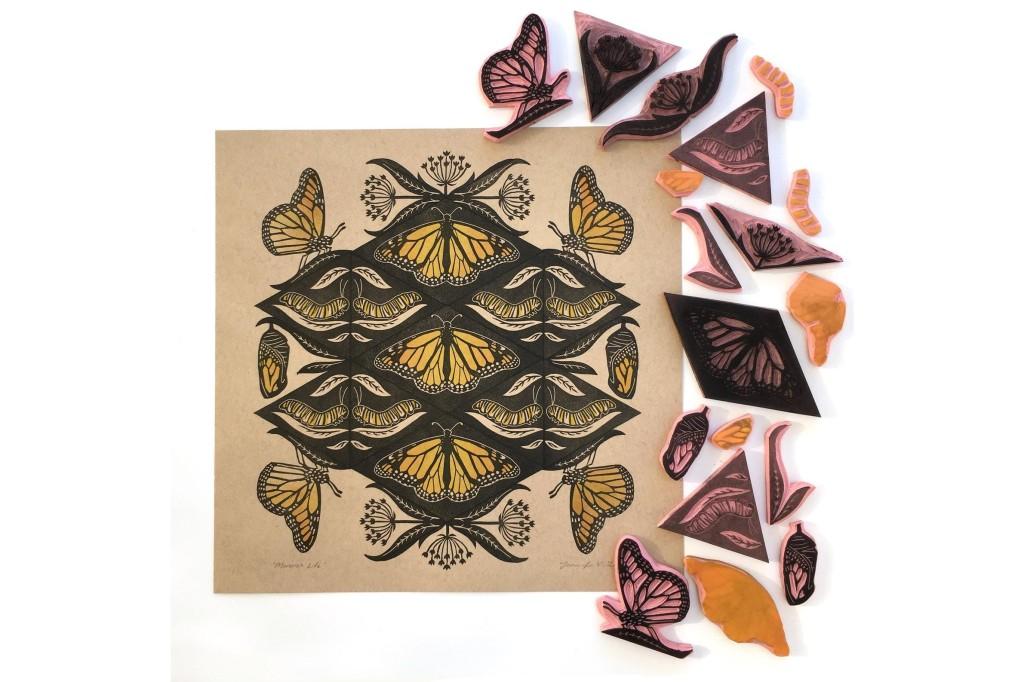 Jennifer Zee ginkgomaker Monarch life linocut print