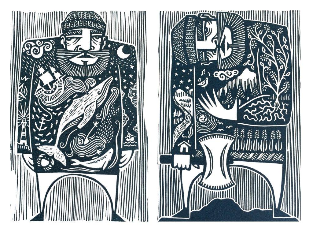 Linocut artist Kat Flint Man of the Sea Man of the Land print