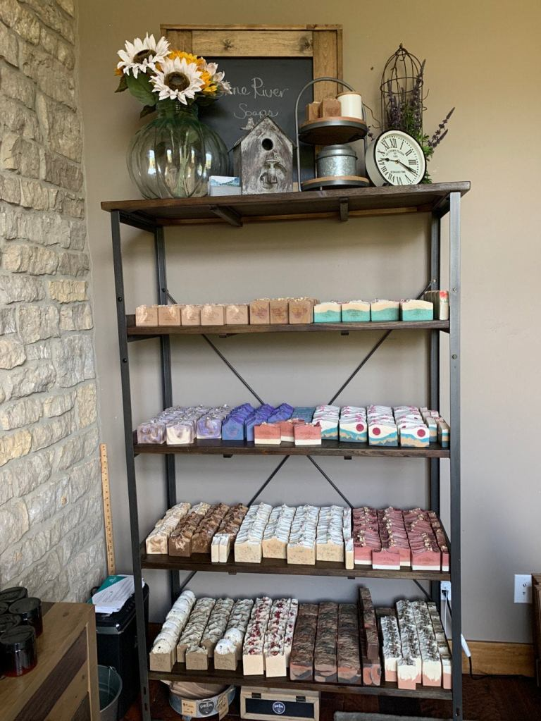 Stone River Soaps shelves