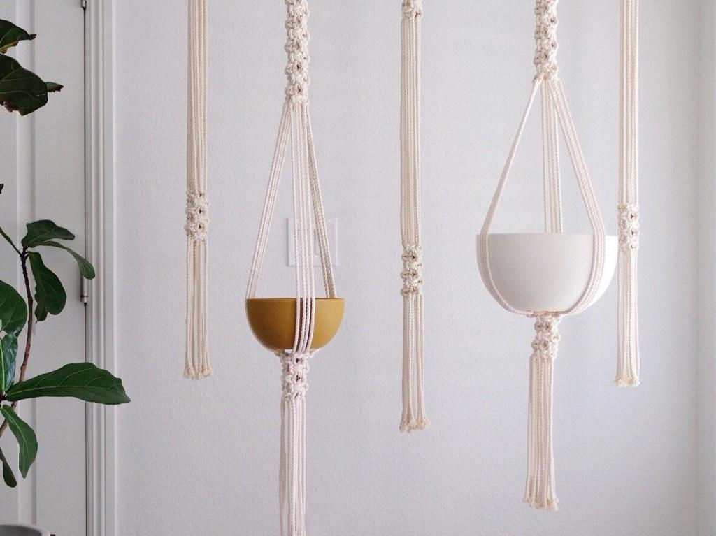 Round Mesh macrame Plant Hanger kit by ReformFibers