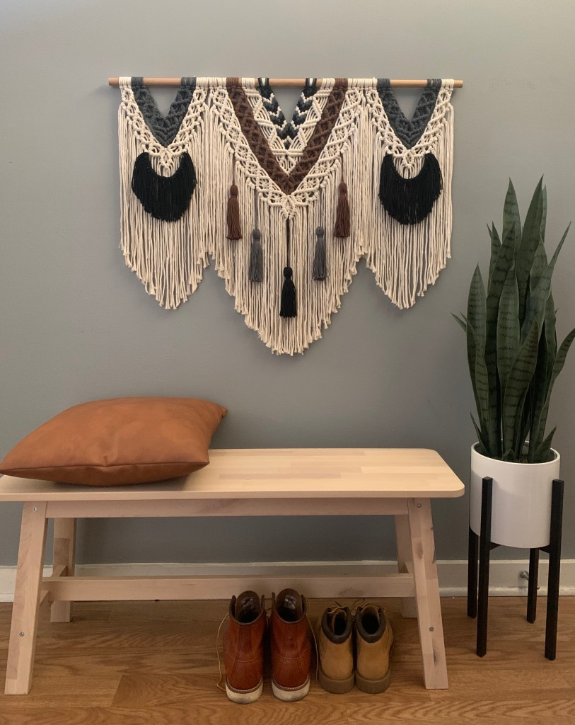 Alisha Ing iWouldRatherKnot custom macrame wall hanging with bench