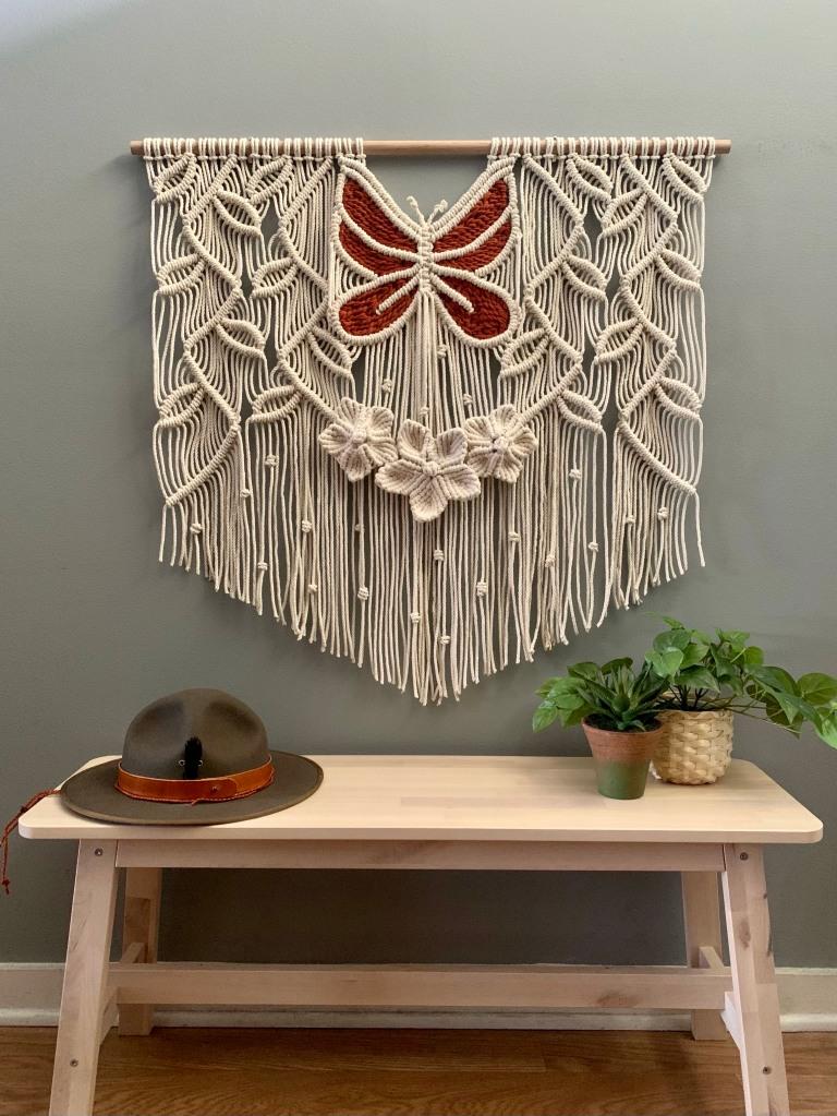 Alisha Ing iWouldRatherKnot custom macrame wall hanging with hat