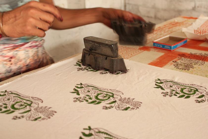 Block printing on fabric India