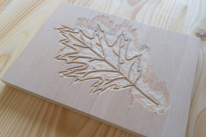 Plywood block leaf woodcut in progress