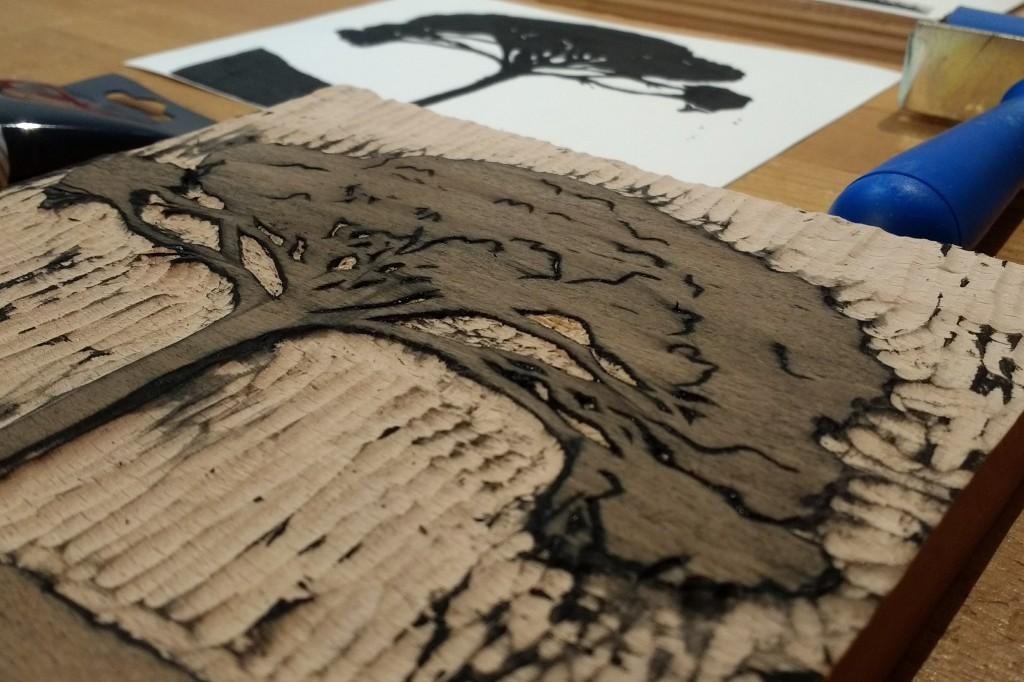 Tree print wood block printmaking