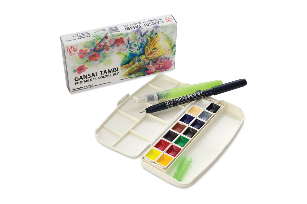 Kuretake gansai tambi portable watercolor set