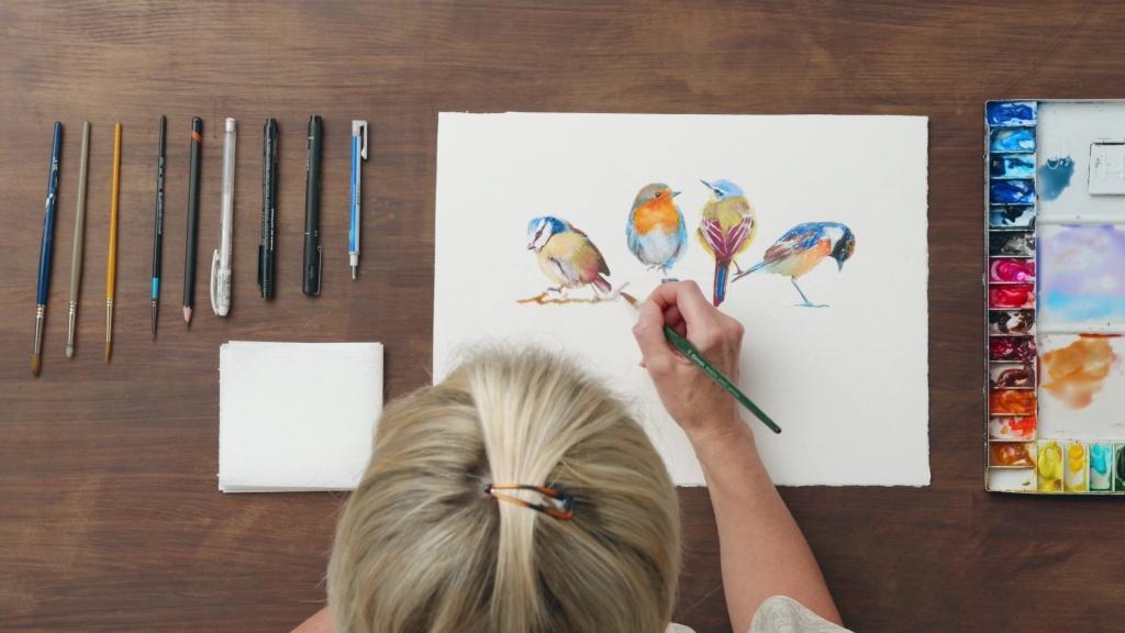 Watercolor techniques for illustrating birds best domestika courses